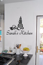 Fruit & Personalized Kitchen Sign Wall Sticker Wall Art Vinyl Kitchen Decor