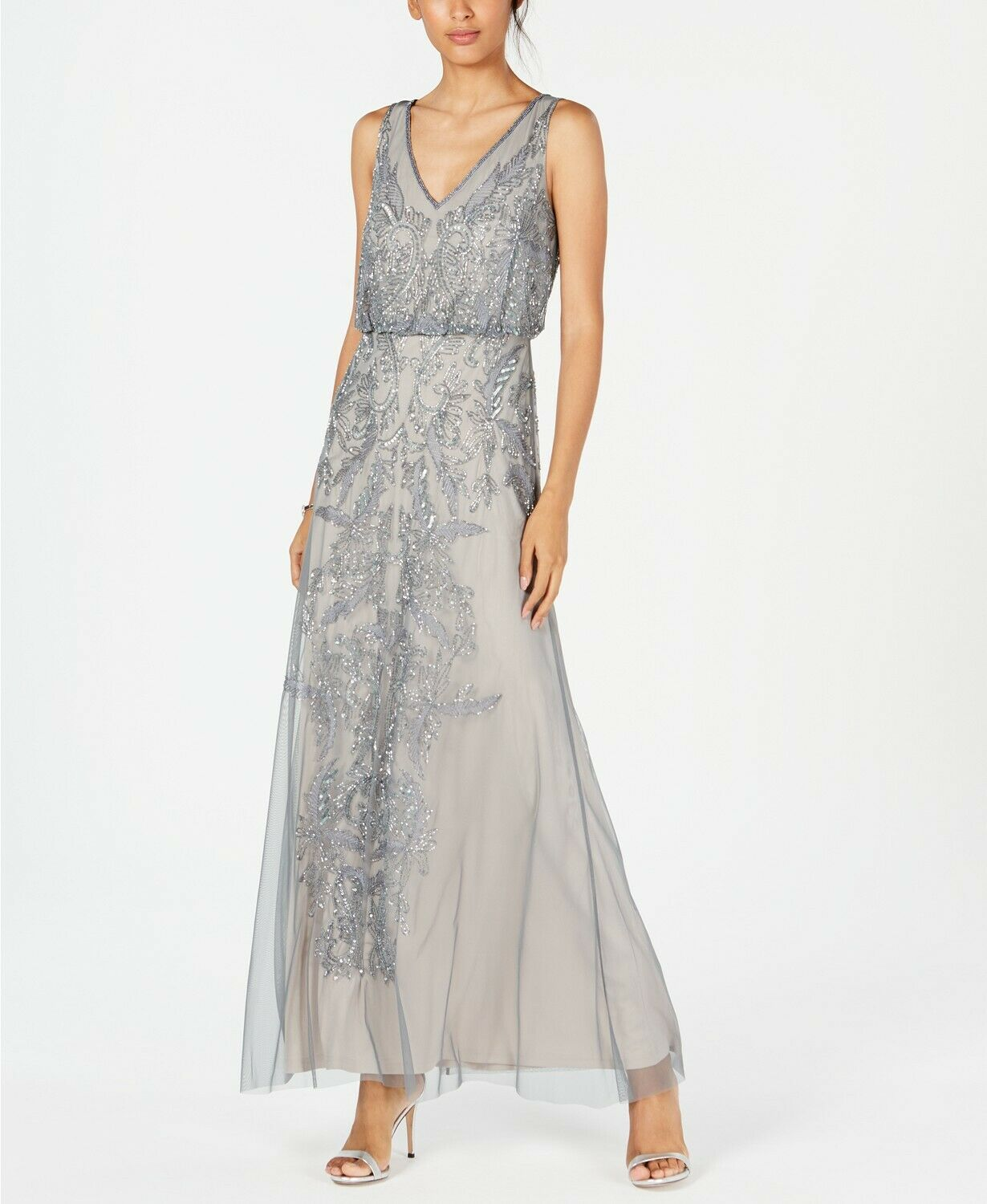 Adrianna Papell Beaded Blouson Mermaid Long Gown Pewter Silver Size 6