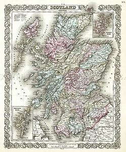 MAP-ANTIQUE-1855-COLTON-SCOTLAND-OLD-HISTORIC-LARGE-REPLICA-POSTER-PRINT-PAM0325
