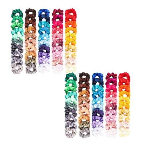 100 Stücke Shiny Silky Hair Scrunchies Elastische Haarbänder Mädchen