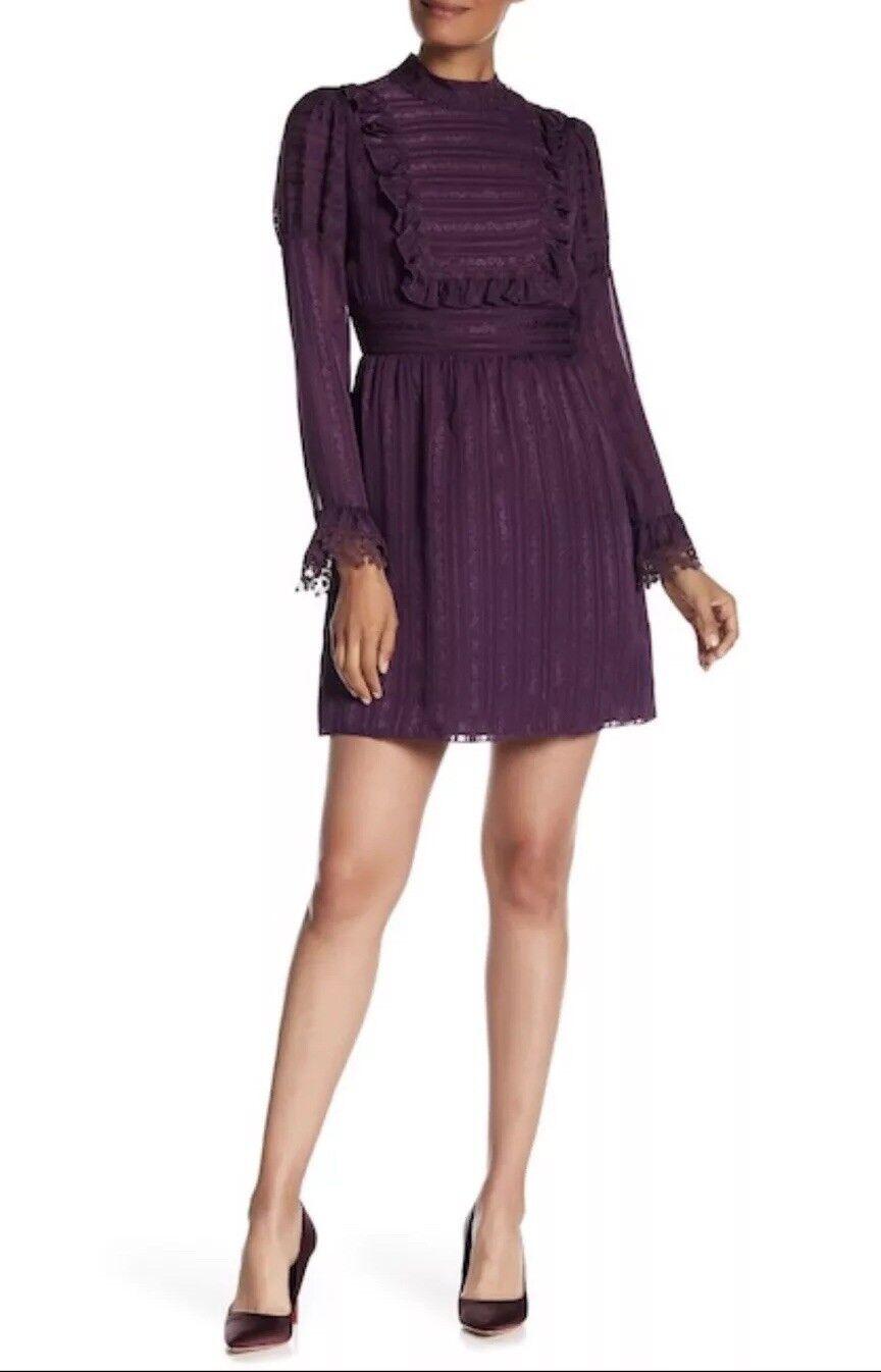Anna Sui Silk Ruffle Jacquard Long Sleeves  Dress  Größe 2 New