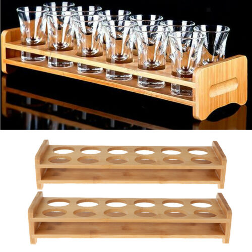 2x Bamboo Mojito Liquor Cup Rack Wine Shot Glass Holder 7//12 Holes By Random