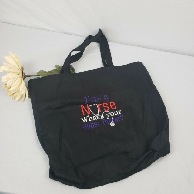 I/'M A NURSE WHAT/'S YOUR SUPERPOWER FUNNY CUSTOM TOTE BAG PURSE COLOR CHOICES