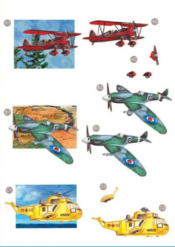 Spitfire Craft UK A4 Die Cut Decoupage línea 445-Bi-Avión Helicóptero