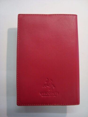 Genuine Leather Passport Cover Protector Branded VISCONTI Fuscia Colour