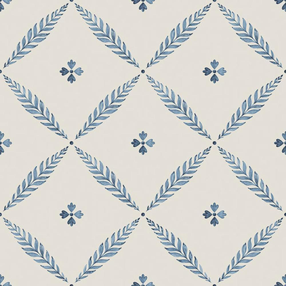 51023 - Blomstermala Blumen blättriger Spalier blau Galerie Tapete