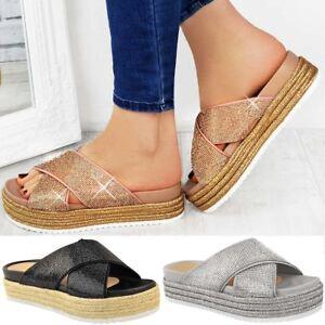 Womens-Ladies-Diamante-Slip-On-Sandals-Flatforms-Sparkly-Platform-Summer-Size-UK