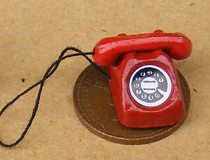 1-12-Scale-Red-Old-Style-Rotary-Telephone-Tumdee-Dolls-House-Miniature-Accessory