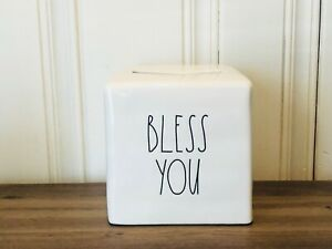 Rae-Dunn-Artisan-Collection-By-Magenta-BLESS-YOU-Ceramic-Tissues-Box-Cover-HTF