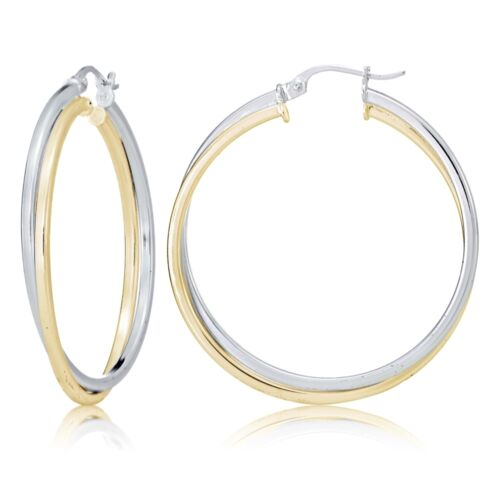 Sterling Silver Two-Tone Square-Tube Double Twisted 47 mm Round Boucles D/'oreilles Créoles
