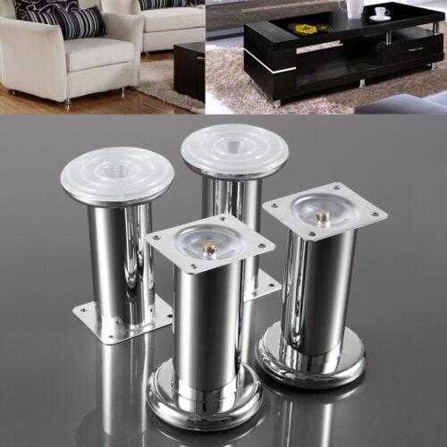 4pcs Pied de meuble Chrome réglable rond Dia 45mm Hauteur 60//80//100//120//150mm