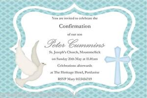 10 personalised confirmation invitations boy new design 3 ebay