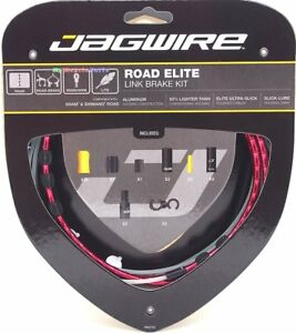Jagwire-Road-Elite-Link-Ultra-Slick-Brake-Cable-Kit-Red-Free-BC-R680-Cap-x2