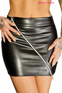 Sexy MiniGonna Nera Lucida Wetlook Zip Diagonale a 2 vie S M o L Fashion GLAMOUR