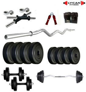 Lycan Home Gym Set 20Kg Rubber Plate+ 3Ft Curl Rod+ Gloves+Dumbbell + H. Grip
