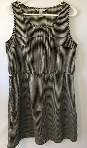 MNG-By-Mango-Women-039-s-Large-Black-Cream-Polka-Dot-Tank-Top-Dress
