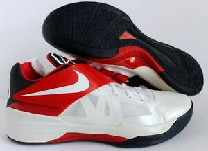hot sales d09d6 0a524 Image is loading NIKE-ZOOM-KD-IV-WHITE-OBSIDIAN-UNIVERSITY-RED-