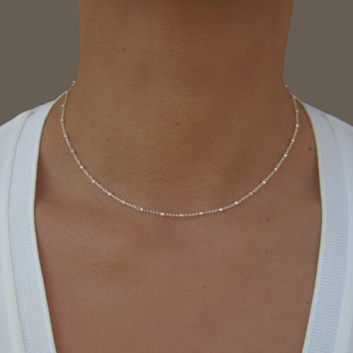Dainty Chain Necklace Silver Satellite Chain Beaded Necklace Simple Day Collar