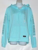 Victoria's Secret Pink Lace-up Pullover Logo Hoodie Morning Sky Medium (m)