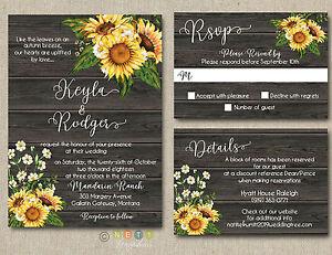 100 Personalized Rustic Sunflower Wedding Invitations Rustic Wood ...