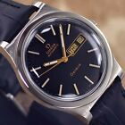 VINTAGE MENS OMEGA GENEVE AUTOMATIC CAL 1022 DAY&DATE ANALOG DRESS LEATHER WATCH