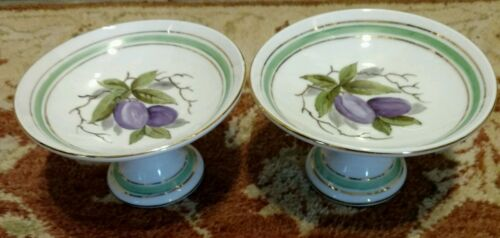 Heinrich Selb Bavaria pr Footed Compotes hand painted Fruit gold