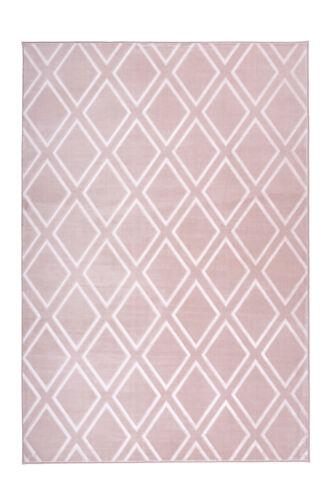 Pastell Rosa 120x170cm Teppich Modern Rauten Design Skandinavisch Scandi Geomet