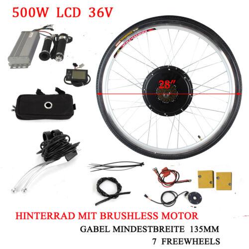 36V 500W Hinterrad E-Bike Conversion Kit Elektrofahrrad ebike Umbausatz LCD