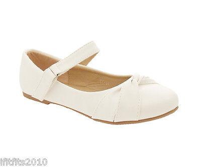 GIRLS WHITE SHOES COMMUNION BRIDESMAIDS Bow Trim YY14