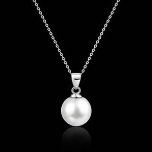 Fashion-WOMEN-white-Freshwater-Pearl-Pendant-Necklace-Silver-Chain-Jewelry-GIFT