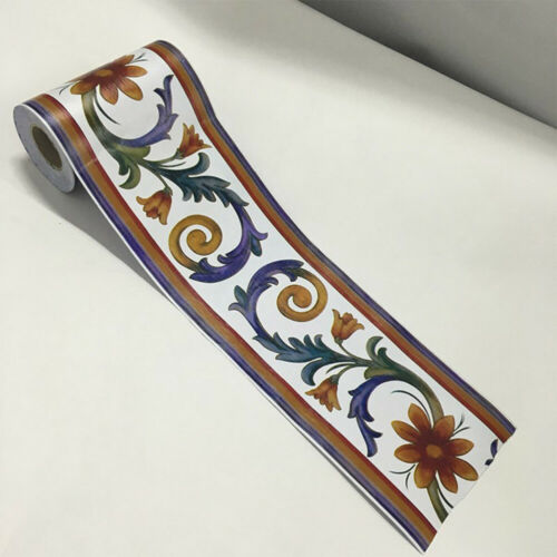 1pc Papier Peint Bordure AUTOCOLLANT PVC Floral Stickers Pour Mur Salle de Bain Maison