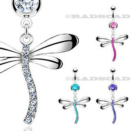 1 x DRAGONFLY DANGLE CRYSTAL NAVEL RING BELLY PIERCING BAR PINK CLEAR BLUE B18