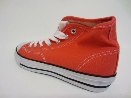 R6B Spot On X0R002 Ladies Hi-Top Canvas Pumps Coral Sizes 3 to 8