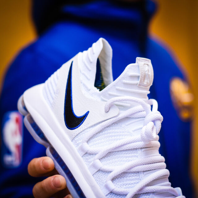 0d07c41a192c7 NIKE ZOOM KD10 GOLDEN STATE WARRIORS NBA WHITE ROYAL Blue 897815-101 MEN S  10.5