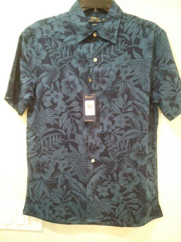 Men POLO RALPH LAUREN (Med)Slim Fit bluee Tropical Short Sleeve Shirt 100% Cotton