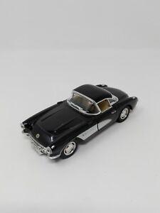 """Kinsmart Corvette Diecast Model Car 1:34 5"""" 1957 Black White Pull Back Action"""