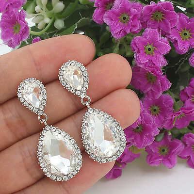 Classics Wedding Drop Pierced Dangle Earrings Clear Austrian Crystal -E115