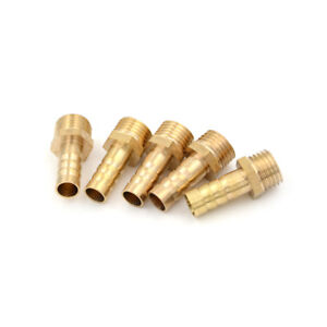 5Pcs-1-4-034-PT-Male-Thread-to-8mm-Hose-Barb-Brass-Straight-Coupling-Fitting-FE
