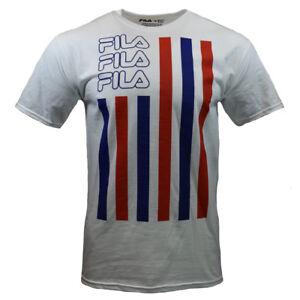 FILA-Men-039-s-T-shirt-Sports-Apparel-S-M-L-XL-2XL-Red-amp-Blue-Stripes-WHITE-NWT