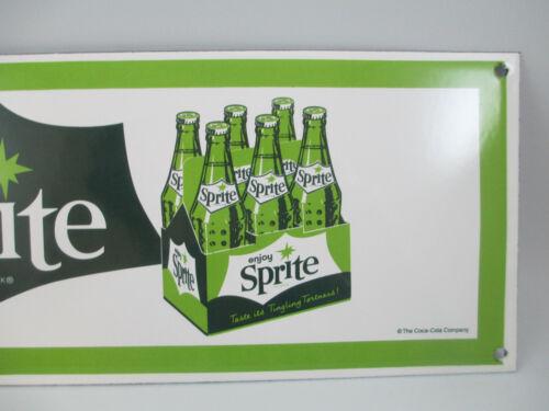 Sprite Enamelware Sign Retro Reproduction Green and White Enjoy Sprite