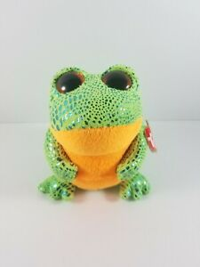 New-with-Tag-TY-Beanie-Boo-Boos-SPECKLES-the-FROG-5-25-inches-Green-Orange