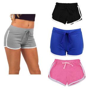 Women s Girls Summer Shorts Cotton Pants Casual Yoga Gym Sport Mini ... 64272ae44d1