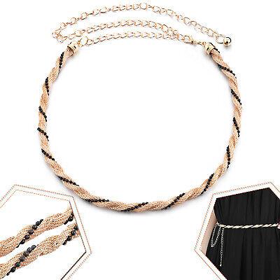 115cm Perla Nera Con Oro Metallo Rete Catena Ciondolo Cintura Per Completo