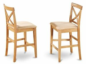 Details About Set Of 2 Bar Stools Kitchen Counter Height Chairs W Padded Seat In Light Oak