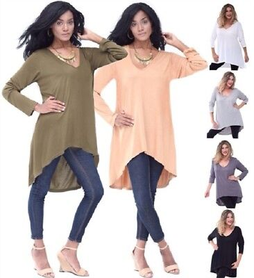WOMENS FASHION HIGH LOW HEM BLOUSE TOP JERSEY MTO S M L 1X 2X 3X 4X 5X 6X @Q367