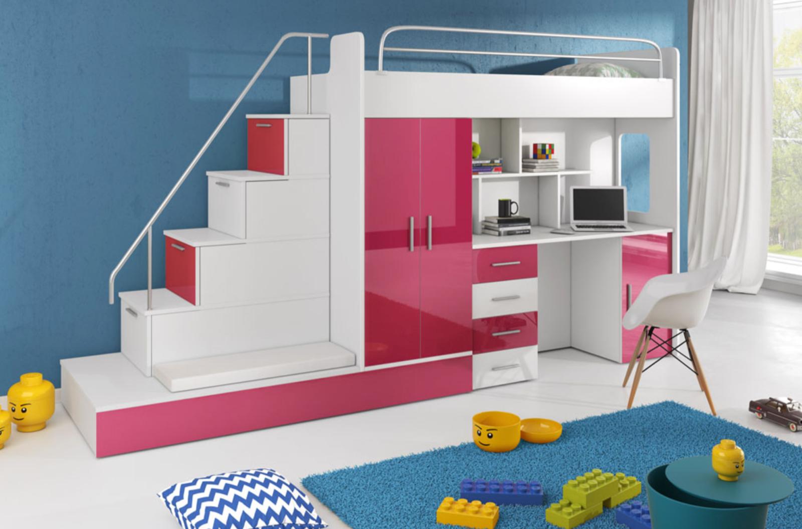 Picture of: Children Kids High Sleeper Bunk Bed Storage Desk Wardrobe Space Saver Kmr5 Ebay