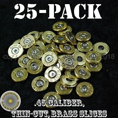 Beminnelijk 45 Caliber Acp Diy Bullet Jewelry Slices - Mix Mfg (25 Pack) Brass W/primer