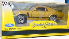 Ertl Ford 1970 Boss 302 Mustang Gold 1 18 Scale Die Cast Metal Read Description