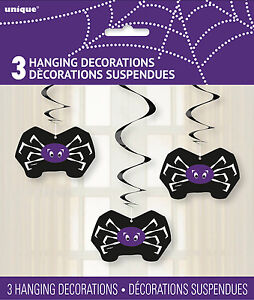HALLOWEEN-PARTY-SUPPLIES-HANGING-DECORATIONS-3-PACK-SPIDERS-WITH-SWIRLS