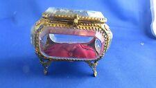 ancienne boite coffret a bijoux laiton epoque 19e fourviere lyon  capitonnee